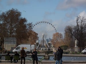 View into the Paris Ferris Wheel and Arc d'Triumph from the Tuileries, Nov 09