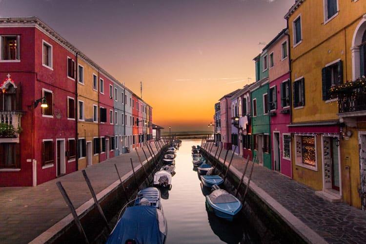Venice Tips Burano at Sunset