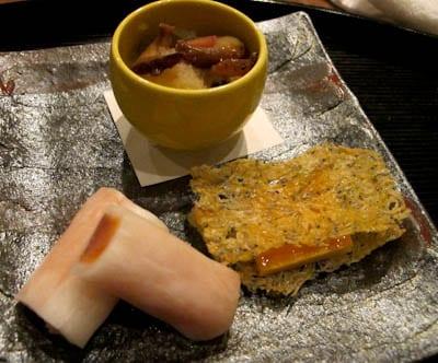 Boiled Komatsuna leaves with daikon radish millefeuille with baby sardine and cauliflower: