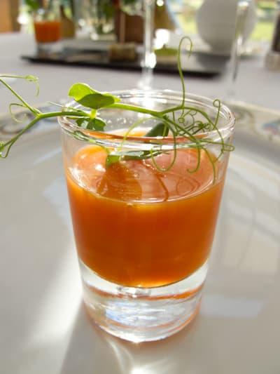 Cold carrot soup Amuse bouche at the Restaurant at Le Fort de l'Ocean