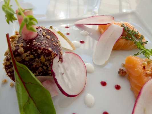 Jellied beets, radish and smoked salmon at the Restaurant at Le Fort de l'Ocean