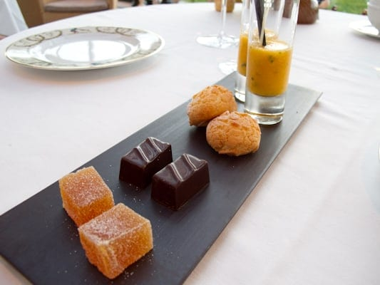 Coffee with a plate of mignardises at the Restaurant at Le Fort de l'Ocean