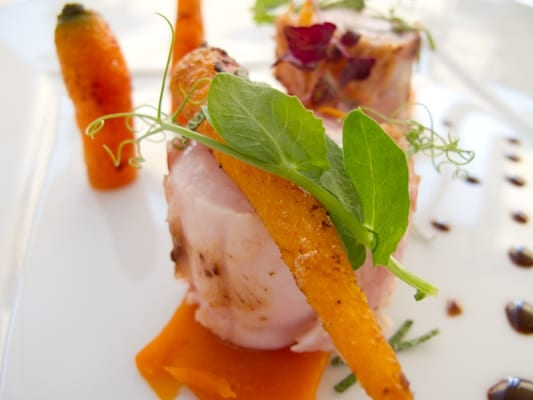 Rabbit and carrots served three ways at the Restaurant at Le Fort de l'Ocean