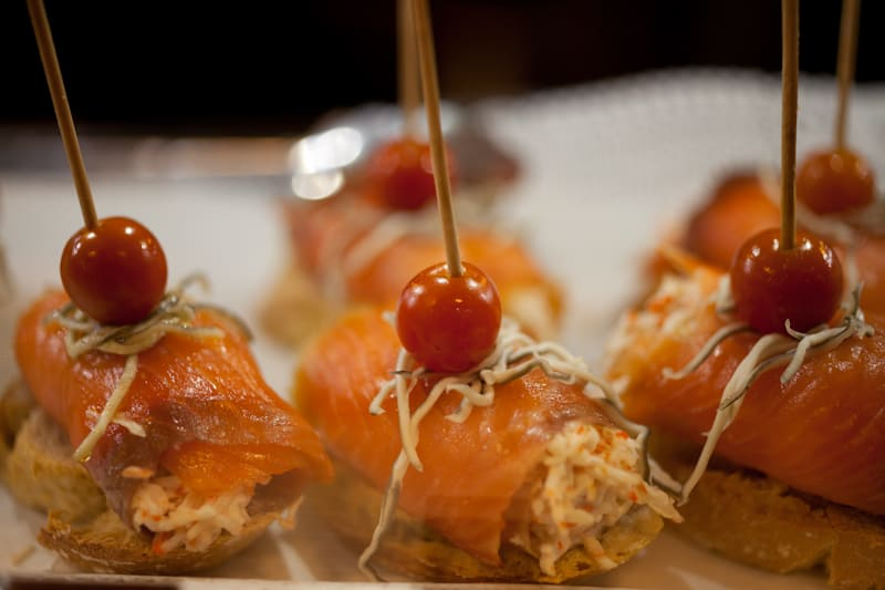 Salmon and crab pintxos Madrid