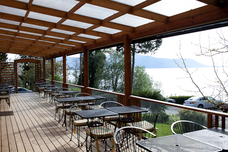 The Willows Inn front deck - turns into a lively spot for happy hour in the early evening