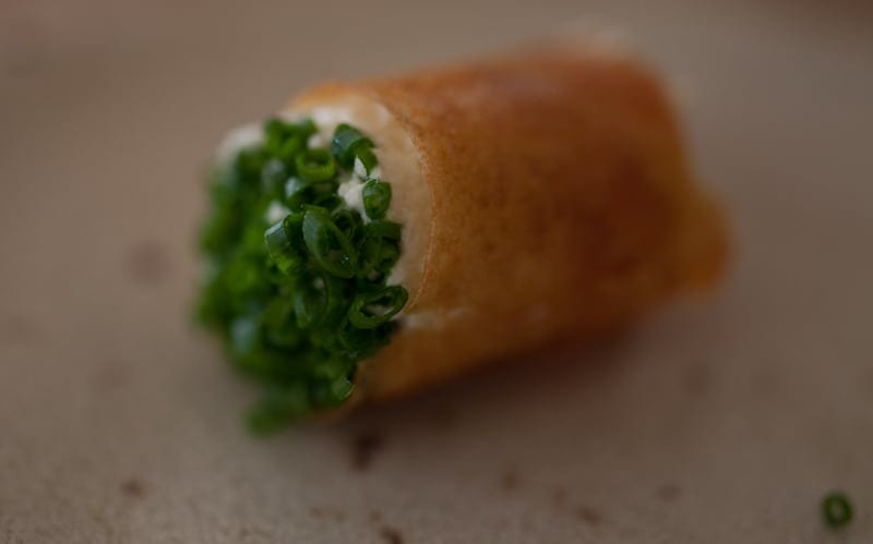Crispy [mini] crepe with Steelhead roe