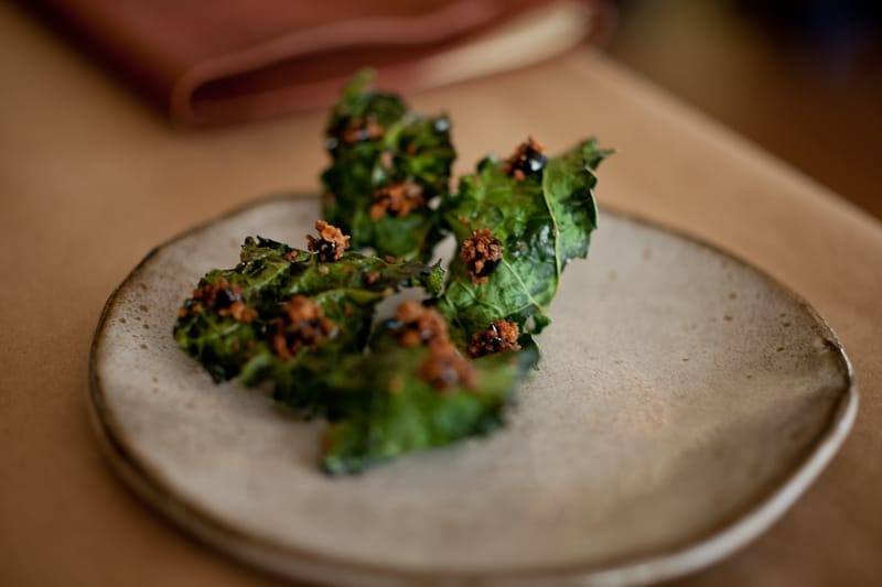 Kale toast with black truffle and rye
