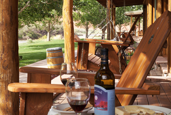 Afternoon apéro on our porch at Sorrel River Ranch