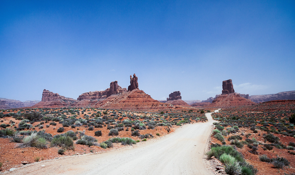 Empty roads through the Valley of the Gods