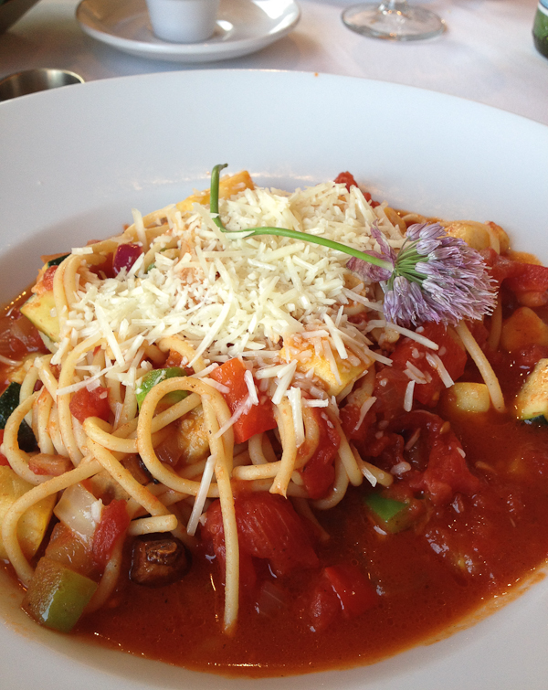 Spaghetti with garden vegetables at Sorrel River Ranch Restaurant
