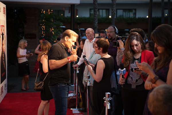 Andi Fisher interviewing James Remar at the Dexter release party