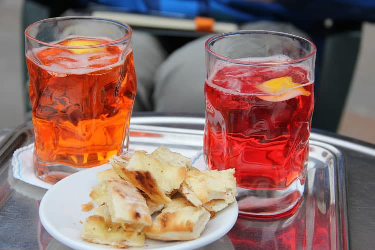 Aperitivo in Milan - Campari and Snacks