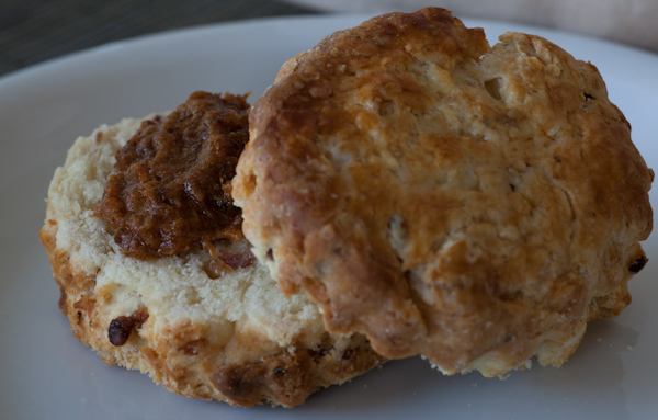 Double maple-bacon biscuit and bacon-bourbon jam from the Biscuit Bender in the San Francisco Ferry Building