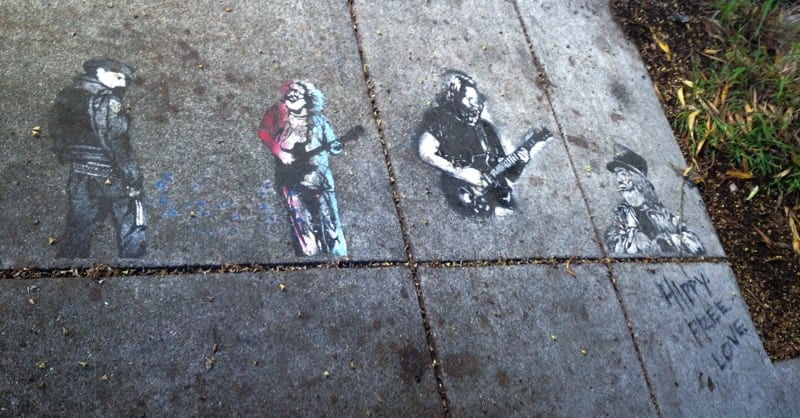 Banksy work in front of 709 Haight in San Francisco
