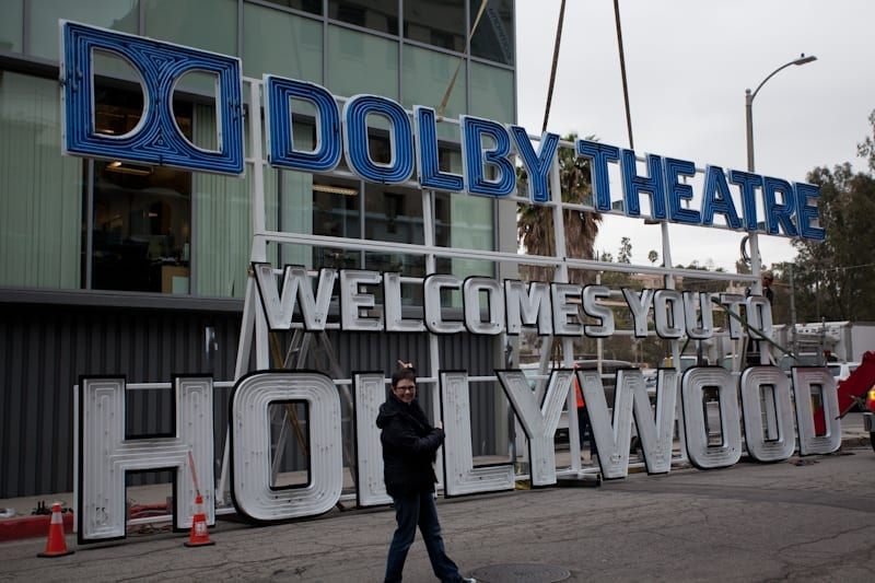 Andi and the Dolby Theatre Sign