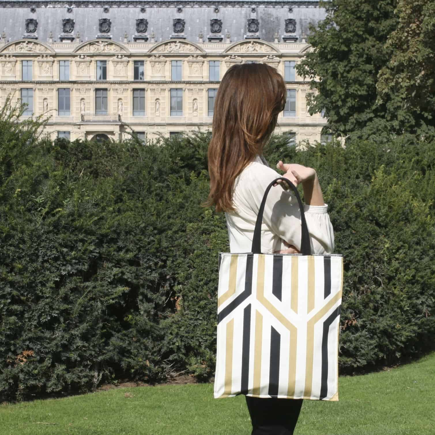 Kasia Dietz-Geometric Collection-Beige + Black tote