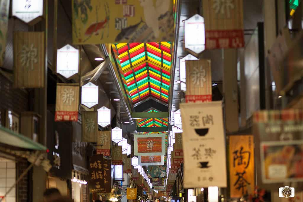 Beautiful colored glass ceiling in Kyoto Nishiki Market