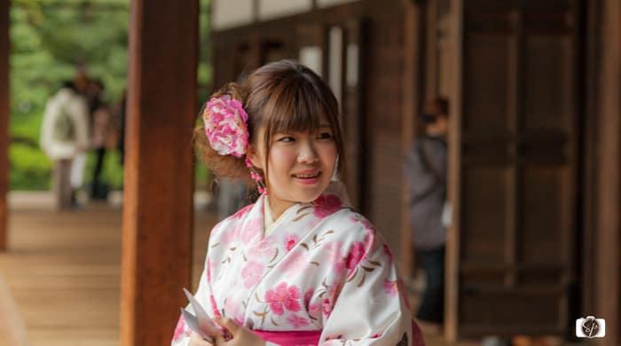 Wearing a Kimono in Kyoto: Girl in Kimono at a Temple in Kyoto