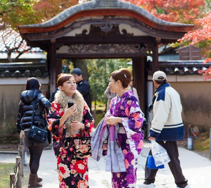 Wearing a Kimono in Kyoto: Girls in Kimono at a Temple in Kyoto