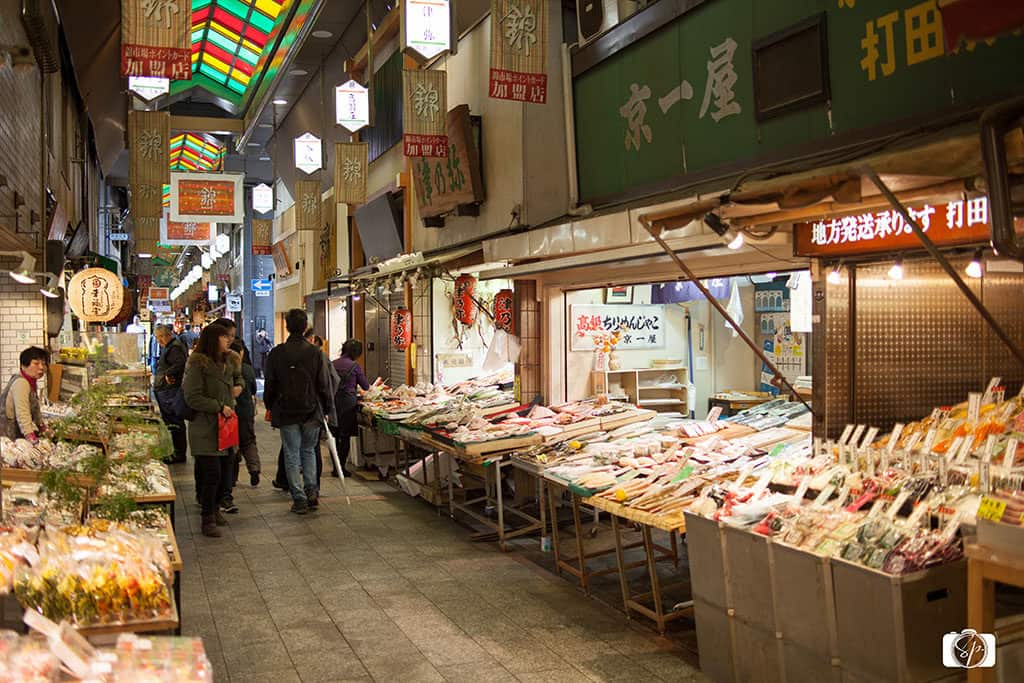 Row of stall and vendors in the in Kyoto Nishiki Market