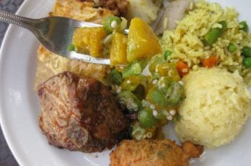 Bajan-food_fish cake_chicken_pumpkin_and_okra_byJoeyBerzowska