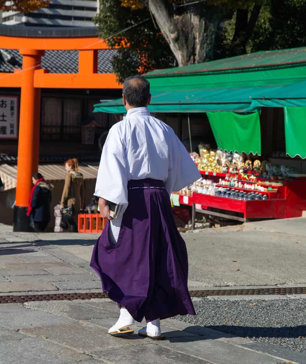 Wearing a Kimono in Kyoto: Priest in Kimono at a Temple in Kyoto