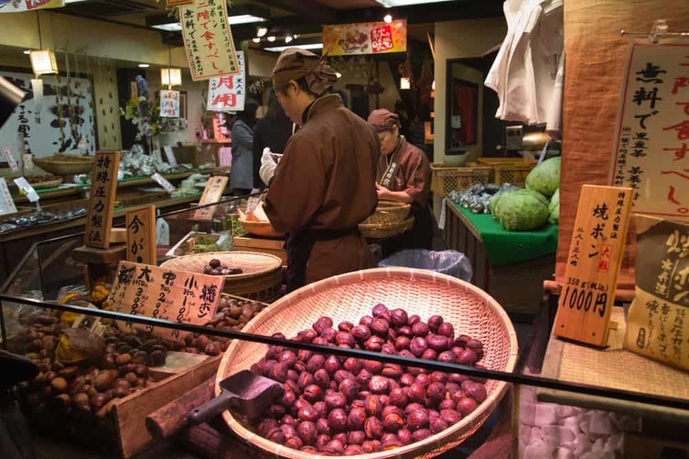 Kyoto Food - Chestnuts in Nishiki Market