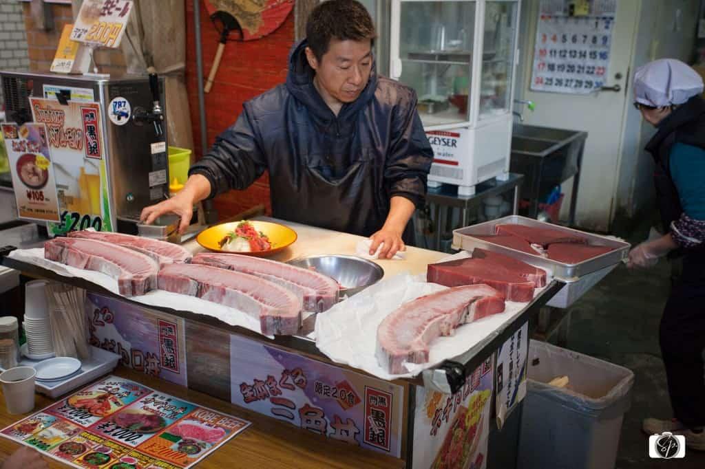 Sashimi at Osaka's Kuromon-Ichiba Market