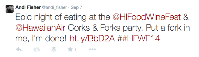 Corks and Forks Last Tweet