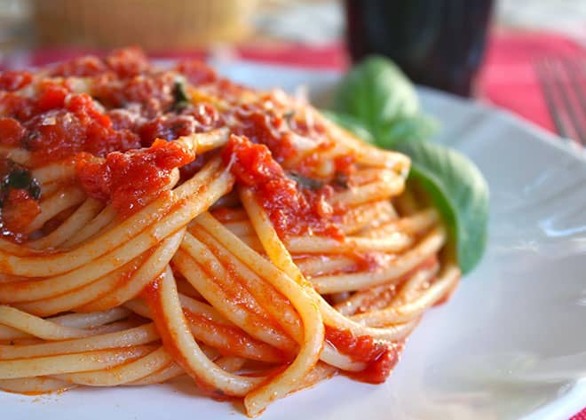 Food Blogger Christina Conte of Christina's Cucina spaghetti simple quick authentic sauce tomato