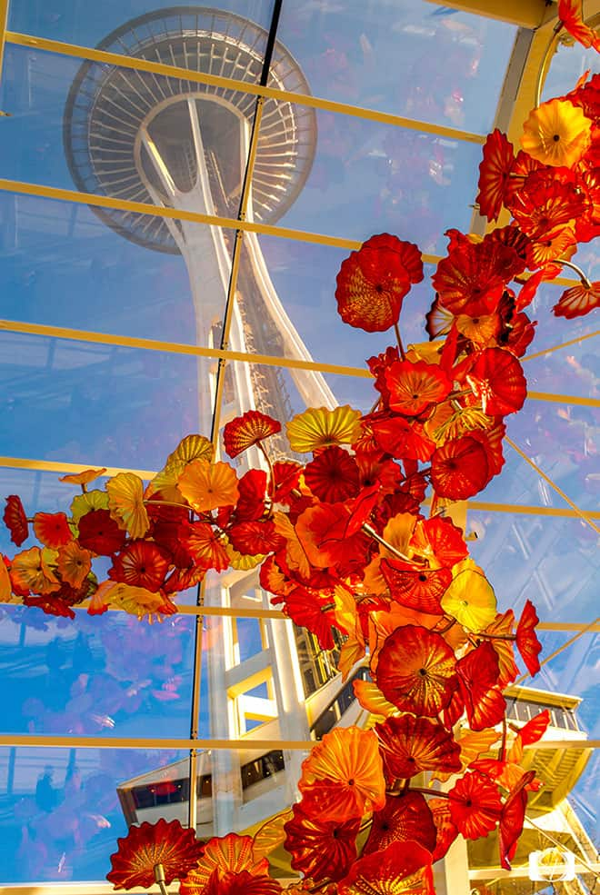 Seattle Chihuly Garden and Glass Museum view of the Space Needle
