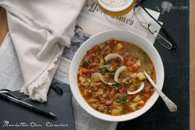 Food blogger Heather of All Roads Lead to the Kitchen Manhattan Clam Chowder