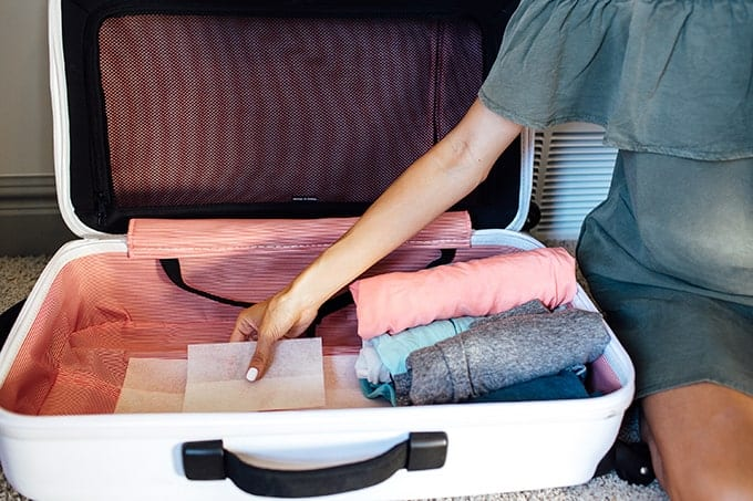 Holiday Travel Hacks Dryer Sheet