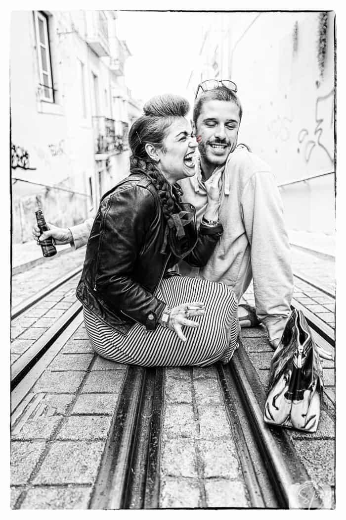 Lisbon Natcha and Friend at Elevator at Bica