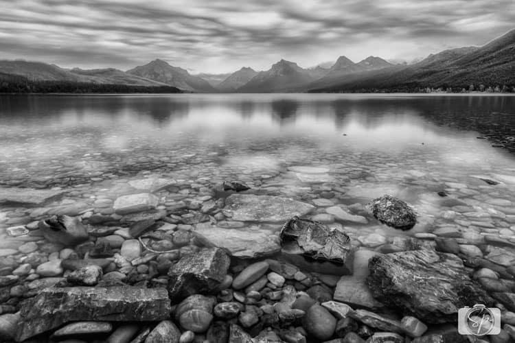 glacier-national-park-mcdonald-lake-bw
