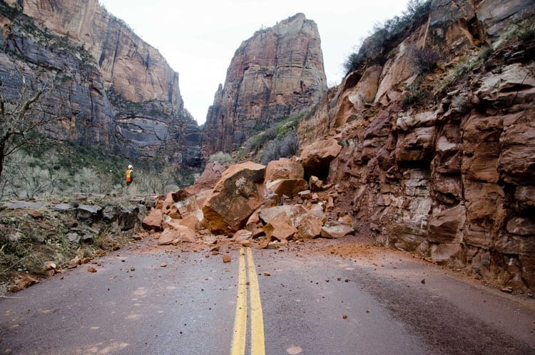 Rockfall-on-Zion-Scenic-Drive