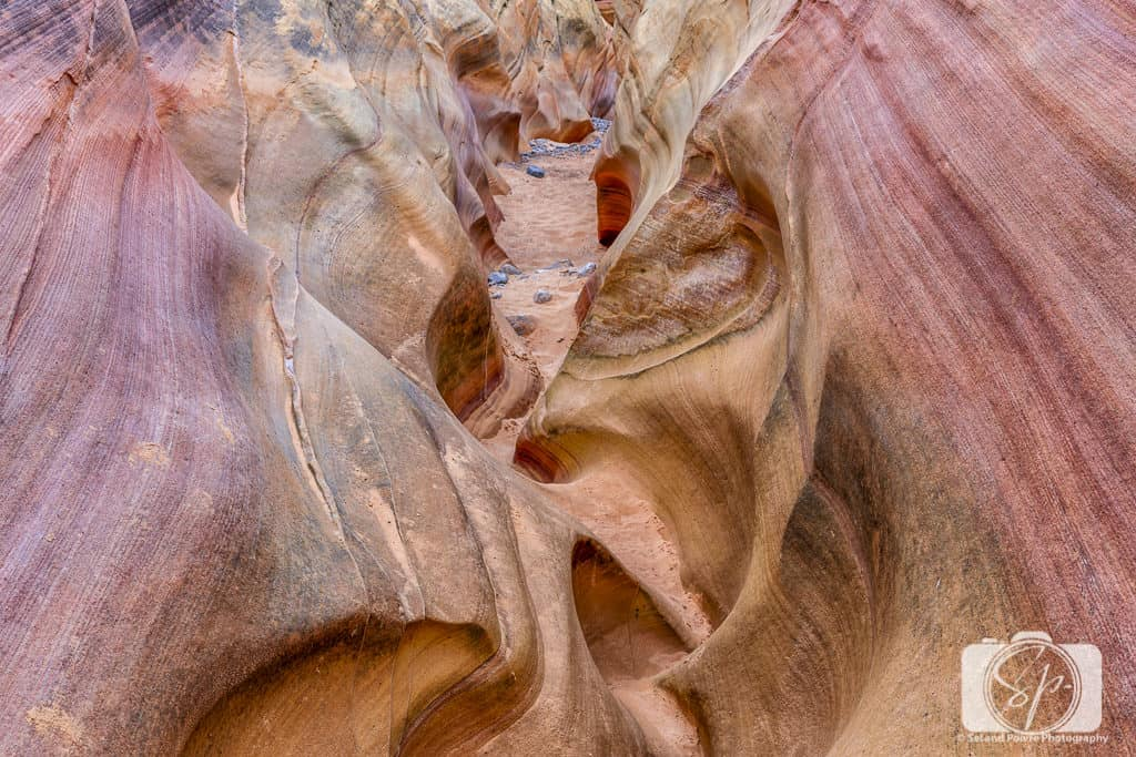 Valley of Fire State Park Nevada USA_Walking through the pink canyon