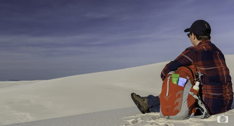 Sahale Inspired in White Sands, Sahale Snacks in my backpack