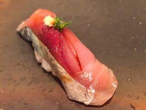 mackerel nigiri from Kubuto