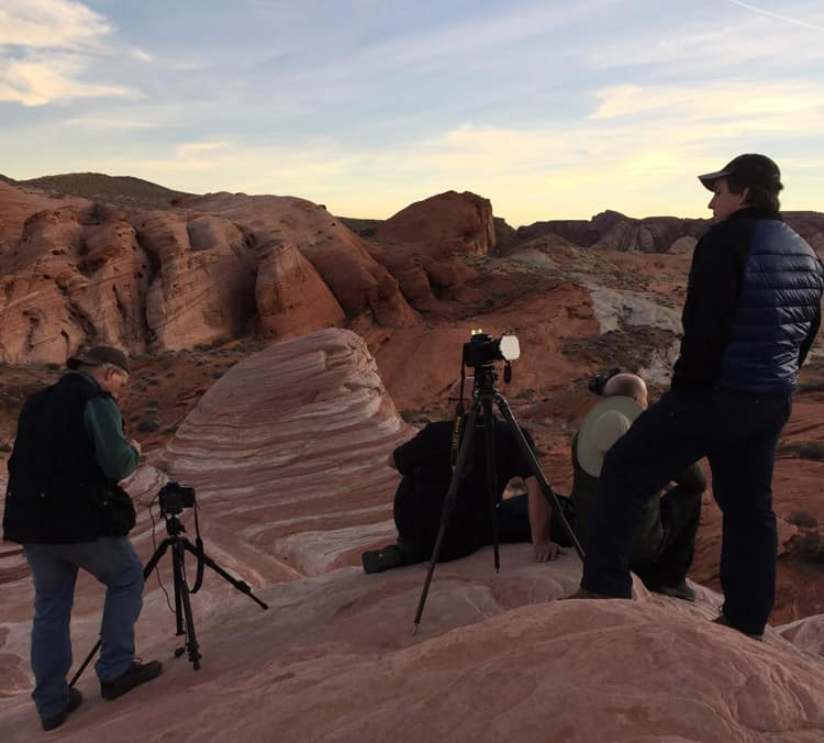 Photographers at sunset in Valley of Fire