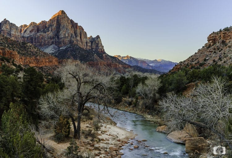 zion national park virgin river at sunrise