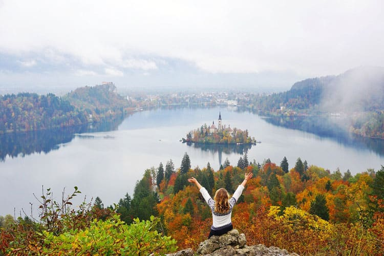 Katie of Traveling Spud Lake Bled Slovenia