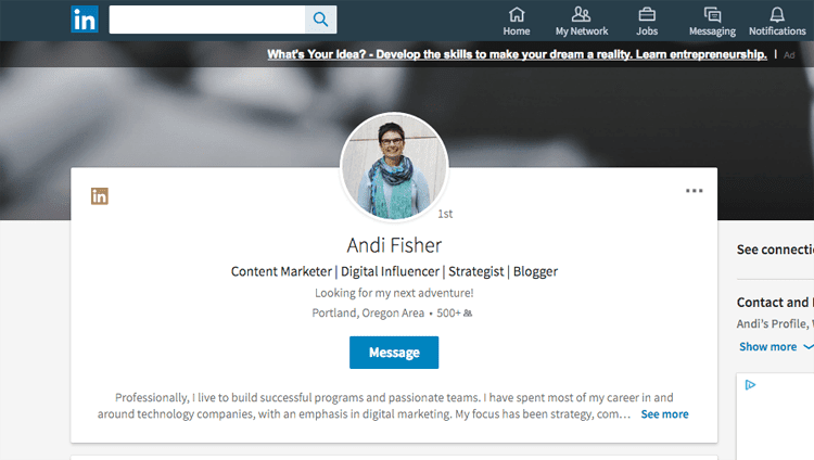 LinkedIn for Bloggers: Andi Fisher Profile
