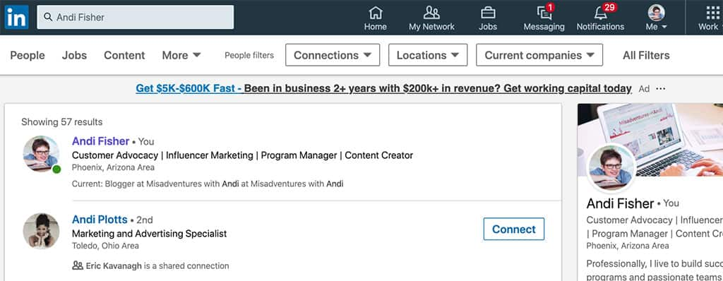 Andi in LinkedIn Search