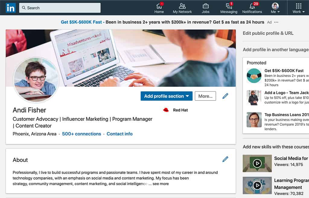 LinkedIn for Bloggers_Andi Fisher LinkedIn Profile Intro Box and About