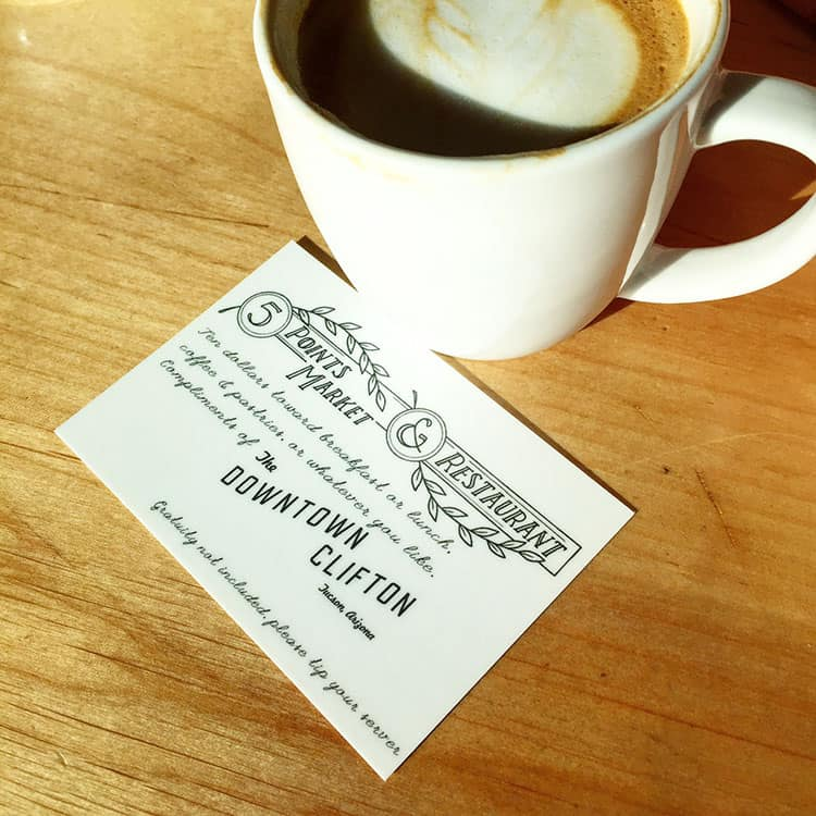 Tucson Restaurant - 5 Points Market - Coupon and Coffee