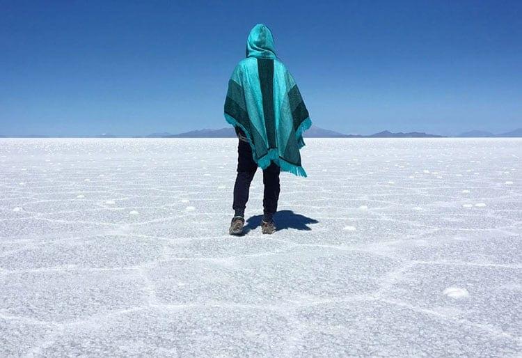Traveler Tuesday - Jaclynn of The Occasional Traveller - Bolivia-Uyuni-Salt-Flats-Back-Poncho