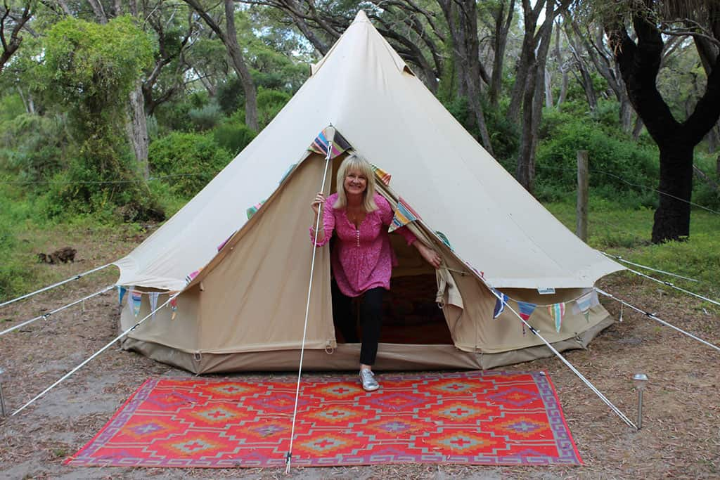 Travel Blogger Johanna of Lifestyle Fifty tent