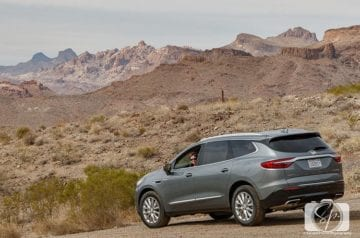Andi in Buick Enclave in front of the Oatman Hills on Route 66 Arizona