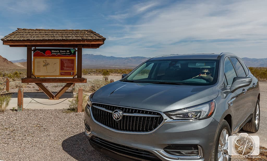 Andi in Buick Enclave on Route 66 Arizona